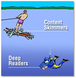 content skimmers vs deep readers