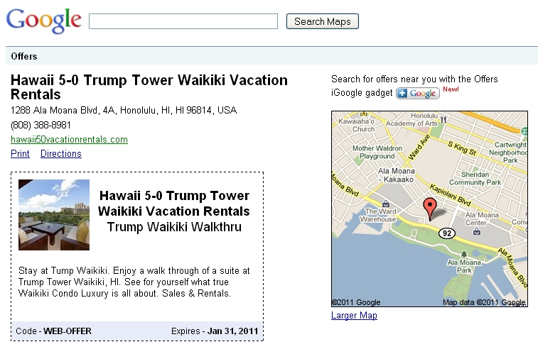 google offers hawaii 2