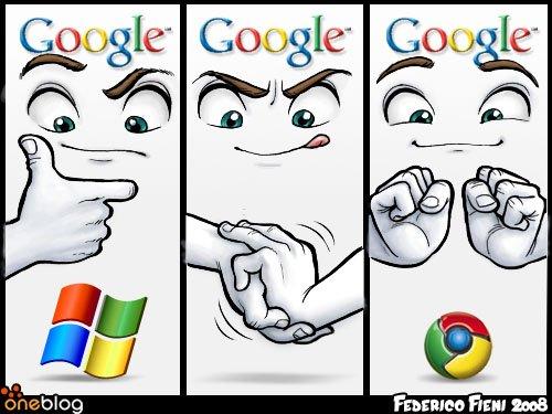 google logo made from windows logo