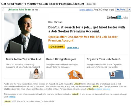 linkedin email august 3 2010 free month job seeker premium account